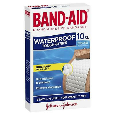 Band-Aid Extra Large Tough-Strips Waterproof 10 Sterile Fabric Strips