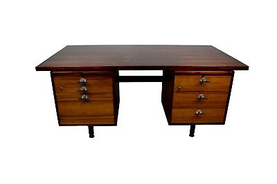 Midcentury Rosewood Desk by Jens Risom with Y-Handles and Adjustable Legs