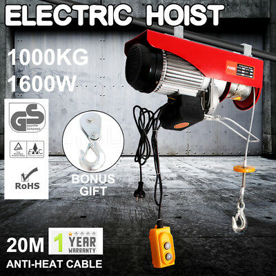 500KG/1000KG Electric Hoist Winch 20M Rope Lifting Cable Remote Chain Lift Tool