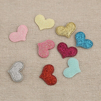 20pcs Glitter Loving Heart Patches Applique Iron On  Craft Sewing Gifts DIY