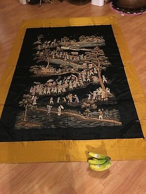 antique chinese the silk huge traditional hand made embroider hanging ornament