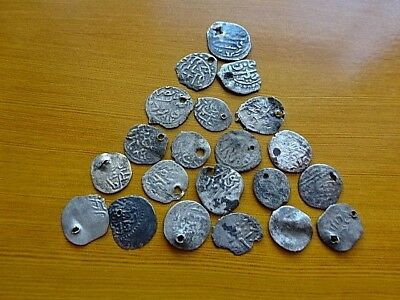 Lot of 22 Authentic Medieval Islamic Ottoman Silver Coins Akce, Akche Unknown.