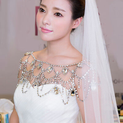 Crystal Shoulder Body Chain Necklace Earrings Wedding Bridal Party Jewelry Set