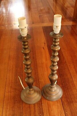Brass Antique Lamp Stands Pair 48cm