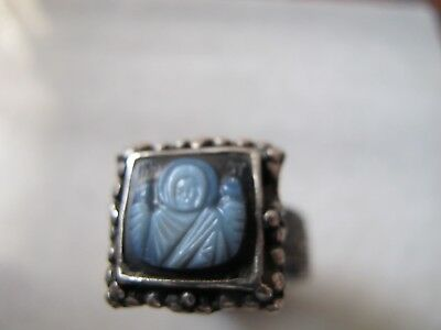 Antique Byzantine Medieval Ancient Silver ring with Cameo