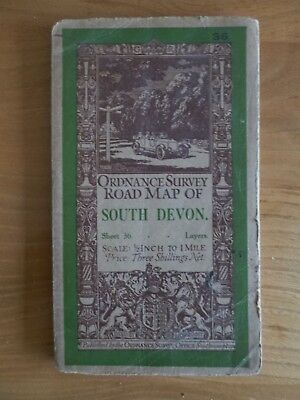 Vintage 1930 Ordnance Survey Road Map SOUTH DEVON Sheet 36 - 1/2 inch Linen