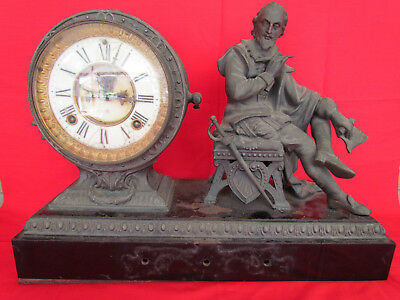 Ansonia Shakespeare Iron Cased Mantle Clock with Spelter Case & Figure