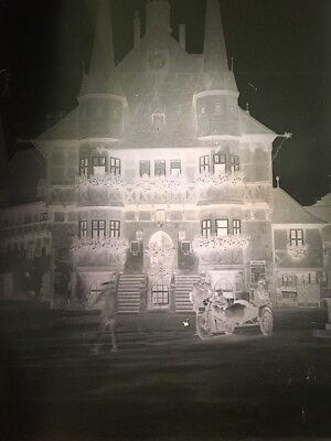 """ANTIQUE GLASS PHOTOGRAPH NEGATIVE  Mansion, House Motorcycle 4-3/4""""x3-1/2"""""""