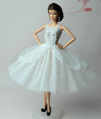 Lovely Fashion White Dress/Clothes/Ballet Dress For 11.5in.Doll Y534U