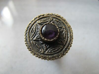 Antique Byzantine Pre Georgian Medieval Ancient Bronze ring with  Amethyst