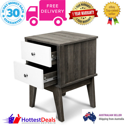 Bedside Table Nightstand Two Spacious Drawers Storage Lamp Side Stand Two Tone