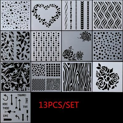 13pcs/set Embossing Template Layering Stencils Walls Painting Scrapbooking