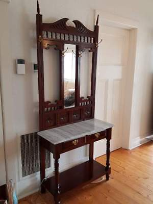 Antique wooden marble top hall stand with mirror