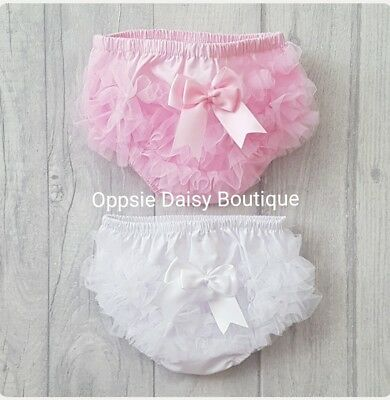 Baby Girls Ribbon & TuTu Frilly Knickers Pants Frilly Pants Pink & White ☆