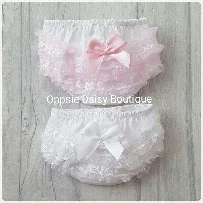 Baby Girls Ribbon & Lace Frilly Knickers Pants Frilly Pants Pink & White ☆