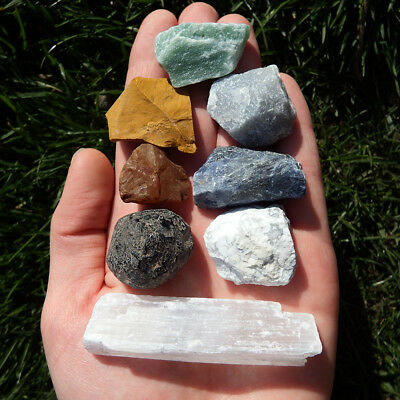 7 Chakra Stone set kit and Selenite wand Crystal Natural raw rough healing reiki