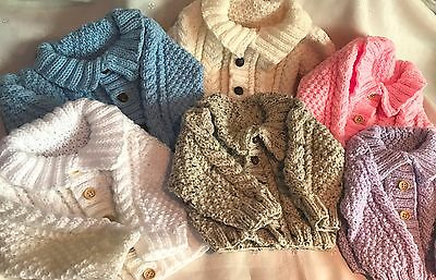 Hand Knitted Baby 0-6 month Aran Cardigan / Jacket Pink White Blue 8 Colours