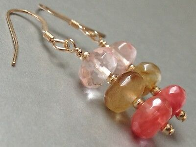 Beautiful Watermelon Tourmaline Faceted Gemstones 14ct Rolled Gold Earrings