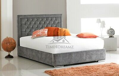 Sarah Modern Diamond Fabric Upholstered Bed Frame Grey 4'6 Double 5ft King Size