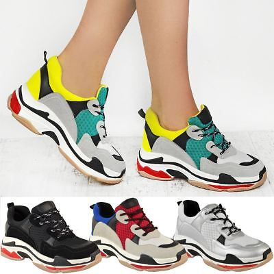 208f32c3e110 Womens Chunky Trainers Platform Triple Sole Dad Sneakers Runners Bali Shoes  New