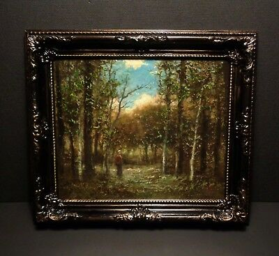 Wooded Meadow Clearing With Figure 2 - Oil Painting : David Jones