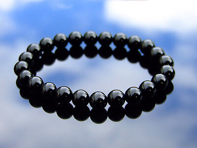 Black Onyx Natural Gemstone Bracelet 6-9'' Elasticated Healing Stone Chakra