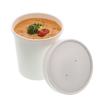 Royal 16 oz. White Paper Soup/Hot/Cold Food Container and Lid Combo, Pack of 250
