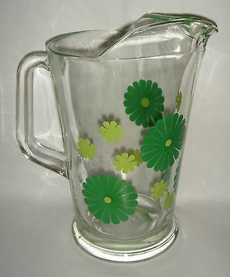 Vintage Glass Jug Green Daisys Bright Water / Table Jug Curled Lip Retro 1970's