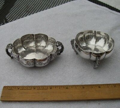 TWO Fine Small LATIN AMERICAN Heavy Silver DISHES-Hand Wrought-NR