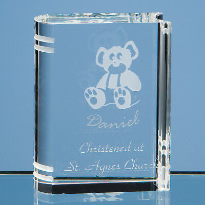 Personalised 6cm Optical Crystal Miniature Book Paperweight Gift Birthday Xmas