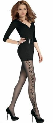 Gabriella Effect Tattoo Patterned Tights 20 Denier Flora Black T Band New