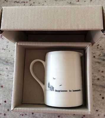 East Of India White Porcelain Jug Happiness is Homemade Gift Vintage Style Boxed