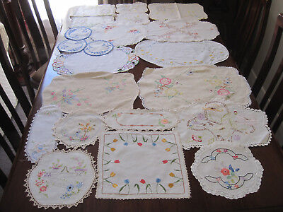 Lot Of 20 Vintage Hand Worked Embroidered Doilies ~ To Use ~ For Craft #3