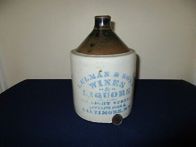 Antique 19thC Stoneware Ulman & Sons Wines Liquors Baltimore MD Advertising Jug