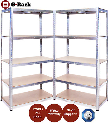 2 Bay Heavy Duty Garage, Storage, 5 Tier Shelving Racking, Free Delivery, 175kg!