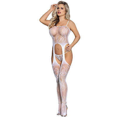 Womens Fishnet Bodysuit Body Stocking Cut Out Crotchless Lingerie Underwear A85