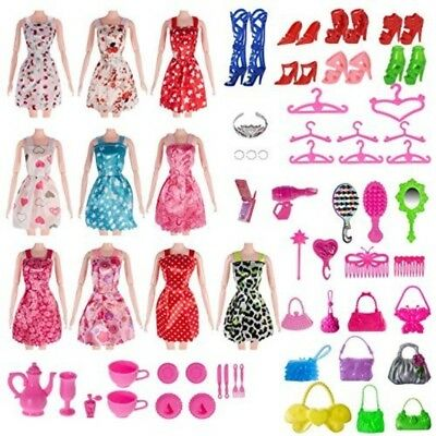 120 PCS Doll Clothes Lot Party Gown Outfits Barbie Dress Accessories Xmas Gift