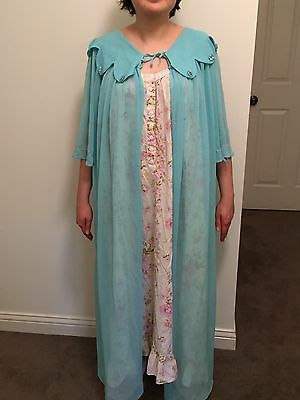 Womens 60s 70s Vintage Long Sheer Nylon Teal Green Blue Peignoir Robe Size Large
