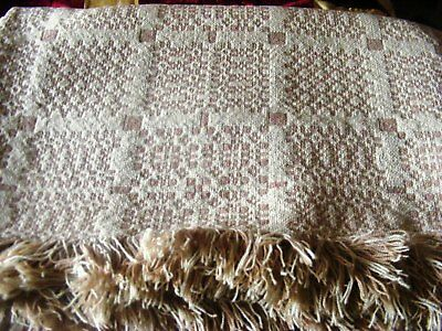 Vintage Welsh wool double bed cover blanket throw cream & biscuit tapestry wool