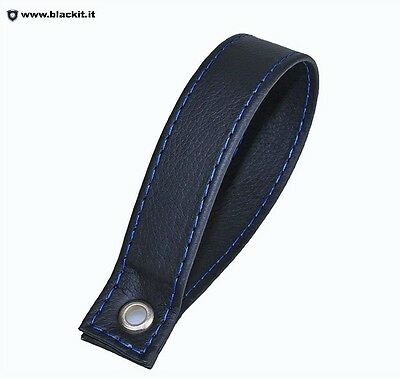Handle trunk black leather embroidery blue