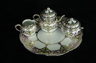 Incredible 6 Piece Antique Sterling Silver Overlay Porcelain Tea Set On Tray