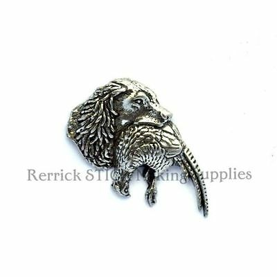 One Pewter Badge For Walking Stick Making Spaniel With Phesant In Mouth