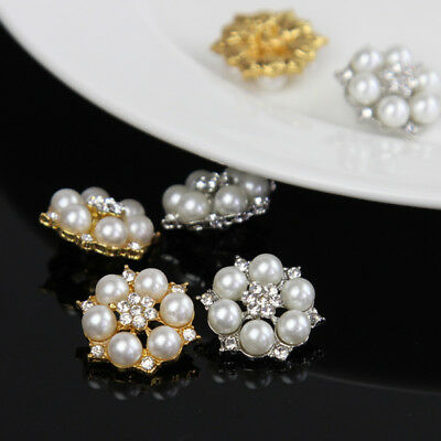 Clear Crystal Rhinestone Faux Pearl Silver Gold Metal Shank Buttons 5/20 Pcs