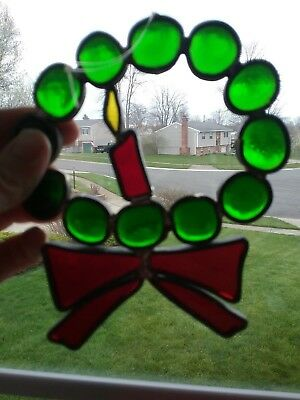"""GORGEOUS Vintage Stained Glass Sun Catcher Handmade soldered CHRISTMAS WREATH 5"""""""