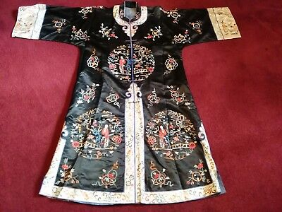 Antique Chinese Silk Embroidery Robe Peking Forbidden Knot Imperial