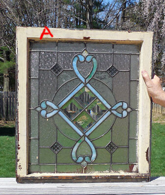 antique American STAINED  Leaded  GLASS Window w/ JEWELS  & BEVELS  *A*