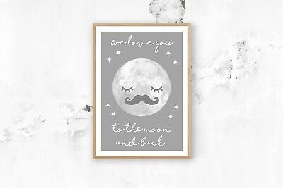 Love you to the Moon and back - Nursery Print - Baby Room - Kids Bedroom