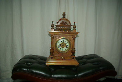 Edwardian Walnut 14 Day Wurttemberg H.A.C German Black Forest Bracket Clock 1910