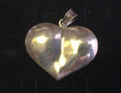 Vintage Necklace Pendant STERLING SILVER 925 BIG Puffy Heart Jewelry lot d