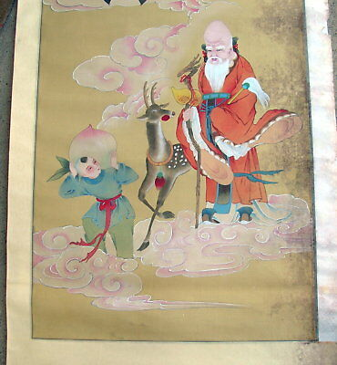 19th century Japanese/Chinese Painting  Hanging  Scroll Holy Man Bats